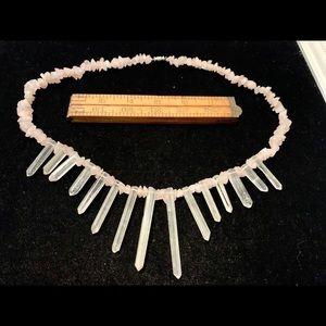 Rose quartz and quartz shard necklace